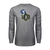 Grey Long Sleeve T Shirt-UCO with Mascot