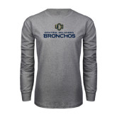 Grey Long Sleeve T Shirt-Central Oklahoma Bronchos Official Logo