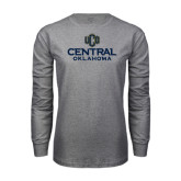 Grey Long Sleeve T Shirt-Central Oklahoma Official Logo