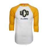 White/Gold Raglan Baseball T-Shirt-UCO Alumni