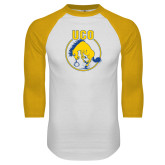 White/Gold Raglan Baseball T Shirt-Vintage Bronchos Logo