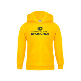 Youth Gold Fleece Hoodie-Central Oklahoma Bronchos Official Logo