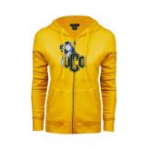 ENZA Ladies Gold Fleece Full Zip Hoodie-UCO with Mascot