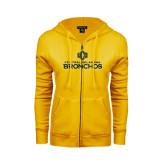 ENZA Ladies Gold Fleece Full Zip Hoodie-Central Oklahoma Bronchos Official Logo