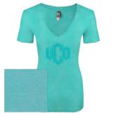 Next Level Ladies Vintage Tahiti Blue Tri Blend V Neck Tee-Official Logo