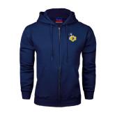 Navy Fleece Full Zip Hoodie-UCO with Mascot