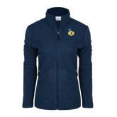 Columbia Ladies Full Zip Navy Fleece Jacket-UCO with Mascot