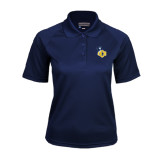 Ladies Navy Textured Saddle Shoulder Polo-UCO with Mascot