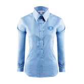Ladies Red House Light Blue Long Sleeve Shirt-Official Logo
