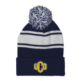 Navy/White Two Tone Knit Pom Beanie with Cuff-Official Logo