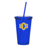 Madison Double Wall Blue Tumbler w/Straw 16oz-Official Logo