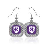 Crystal Studded Square Pendant Silver Dangle Earrings-HC Shield