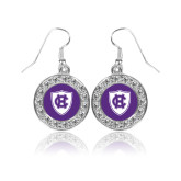 Crystal Studded Round Pendant Silver Dangle Earrings-HC Shield
