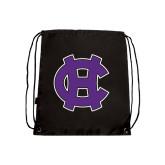 Black Drawstring Backpack-Interlocking HC