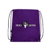 Nylon Purple Drawstring Backpack-Official Logo