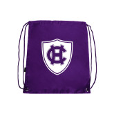 Nylon Purple Drawstring Backpack-HC Shield