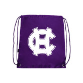 Nylon Purple Drawstring Backpack-Interlocking HC