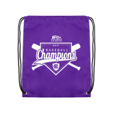 Nylon Purple Drawstring Backpack-2017 Patriot League Mens Champions Baseball