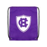 Purple Drawstring Backpack-HC Shield