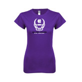 Next Level Ladies Softstyle Junior Fitted Purple Tee-Distressed Football Helmet