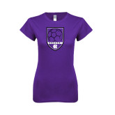 Next Level Ladies SoftStyle Junior Fitted Purple Tee-Soccer Shield Design