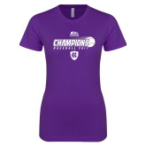 Next Level Ladies SoftStyle Junior Fitted Purple Tee-2017 Patriot League Mens Champions Baseball