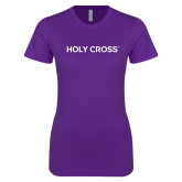 Next Level Ladies SoftStyle Junior Fitted Purple Tee-Holy Cross Wordmark