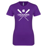 Next Level Ladies SoftStyle Junior Fitted Purple Tee-Crossed Oars