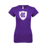 Next Level Ladies Softstyle Junior Fitted Purple Tee-HC Shield