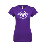 Next Level Ladies SoftStyle Junior Fitted Purple Tee-Crusaders Basketball Arched w/ Ball