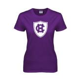 Ladies Purple T Shirt-HC Shield