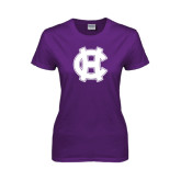 Ladies Purple T Shirt-Interlocking HC
