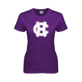 Ladies Purple T Shirt-Interlocking HC