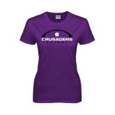 Ladies Purple T Shirt-Crusaders Football Horizontal