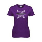Ladies Purple T Shirt-Baseball Stitches