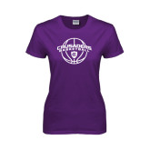 Ladies Purple T Shirt-Crusaders Basketball Arched w/ Ball