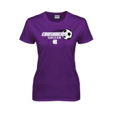 Ladies Purple T Shirt-Soccer w/ Flying Ball