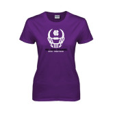 Ladies Purple T Shirt-Distressed Football Helmet