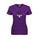 Ladies Purple T Shirt-Soccer Shield Design