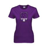 Ladies Purple T Shirt-Soccer Shield Design