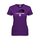 Ladies Purple T Shirt-Abstract Lacrosse Design