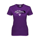 Ladies Purple T Shirt-Hockey Puck Design