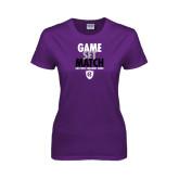 Ladies Purple T Shirt-Game Set Match - Tennis Design