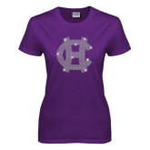 Ladies Purple T Shirt-Interlocking HC Rhinestones