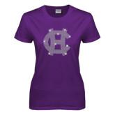 Ladies Purple T Shirt-Interlocking HC Rhinestones