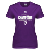 Ladies Purple T Shirt-2017 Patriot League Mens Champions Baseball