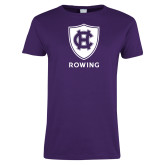 Ladies Purple T Shirt-Rowing