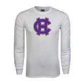 White Long Sleeve T Shirt-Interlocking HC