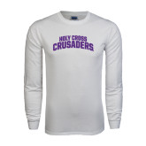 White Long Sleeve T Shirt-Holy Cross Crusaders Arched