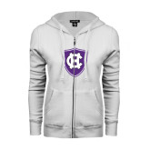 ENZA Ladies White Fleece Full Zip Hoodie-HC Shield